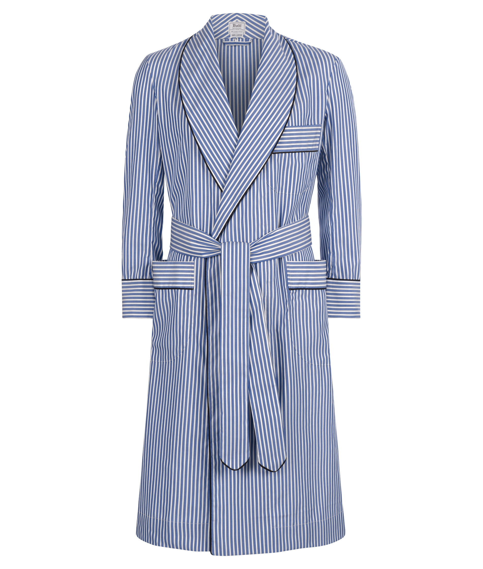 Exclusive Budd Stripe Cotton Dressing Gown in Edwardian Blue