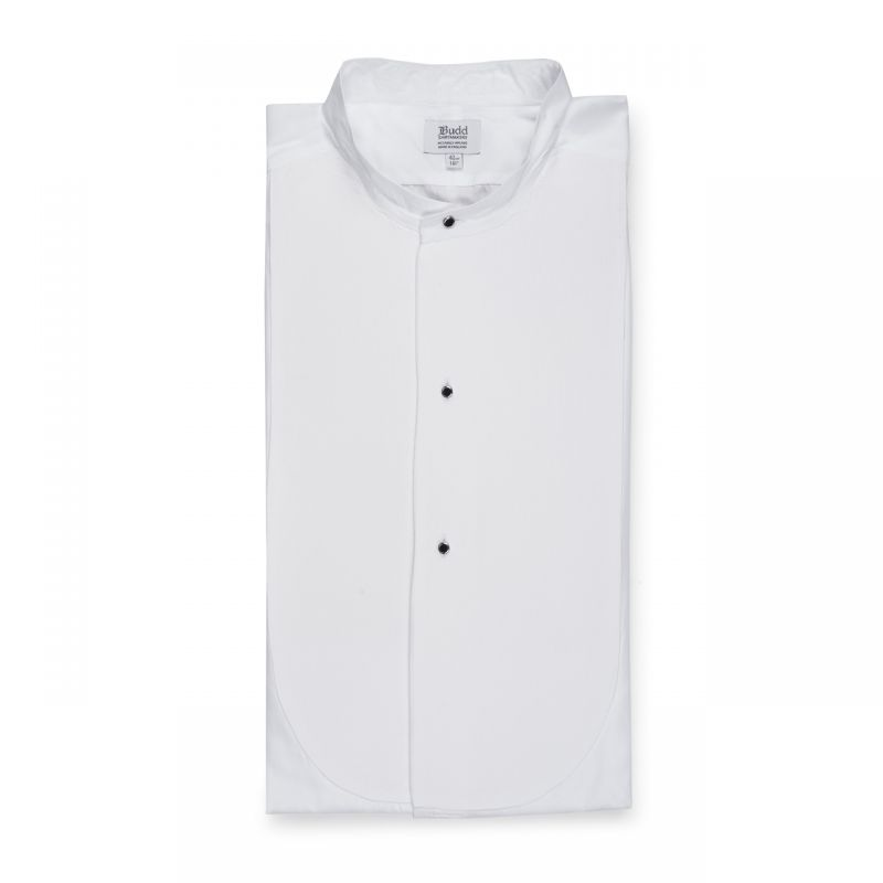 Classic Fit Plain Stiff Bib Neckband Double Cuff Dress Shirt in White