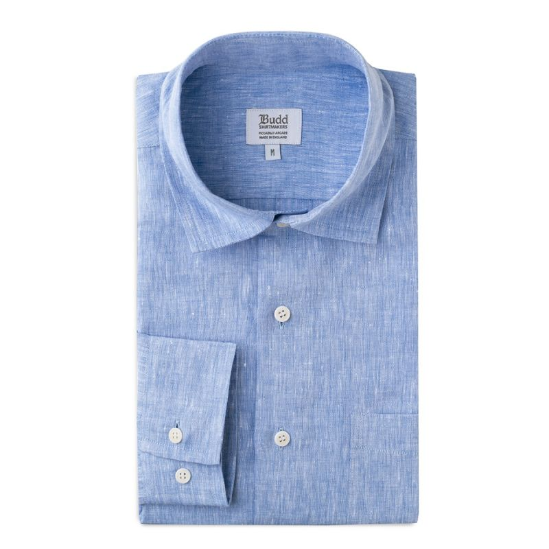 Casual Linen Shirt with Slubs in Blue