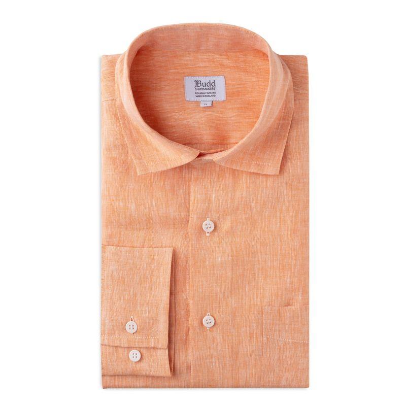 Casual Fit Plain Linen Button Cuff Shirt in Orange