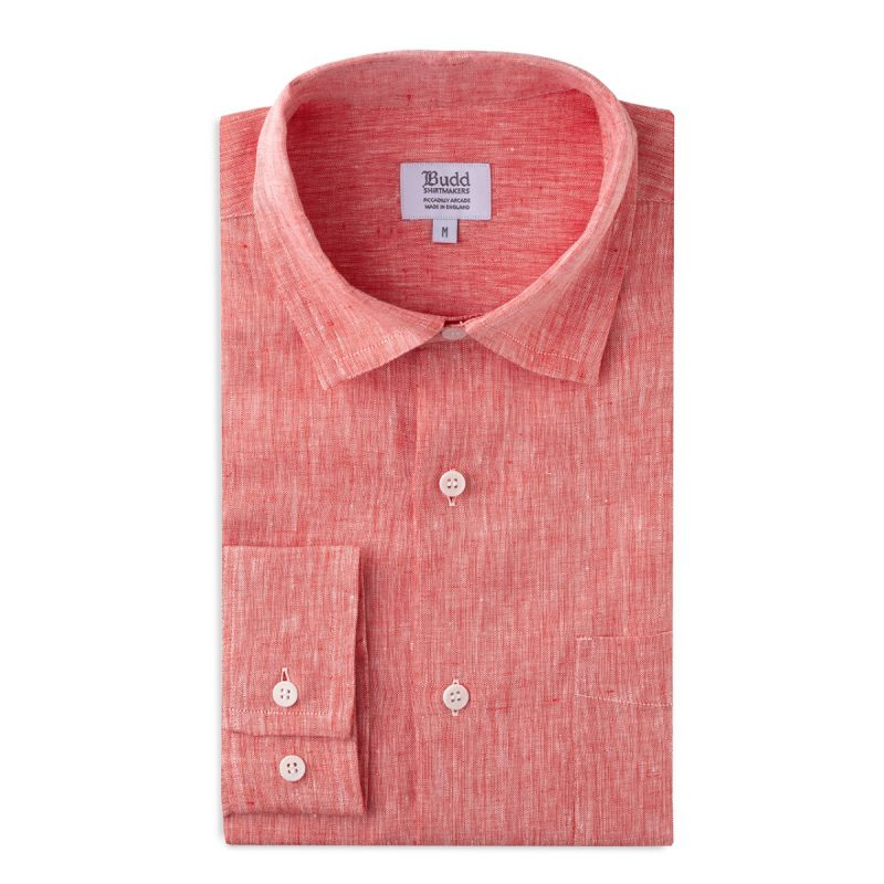 Casual Linen Shirt with Slubs in Red