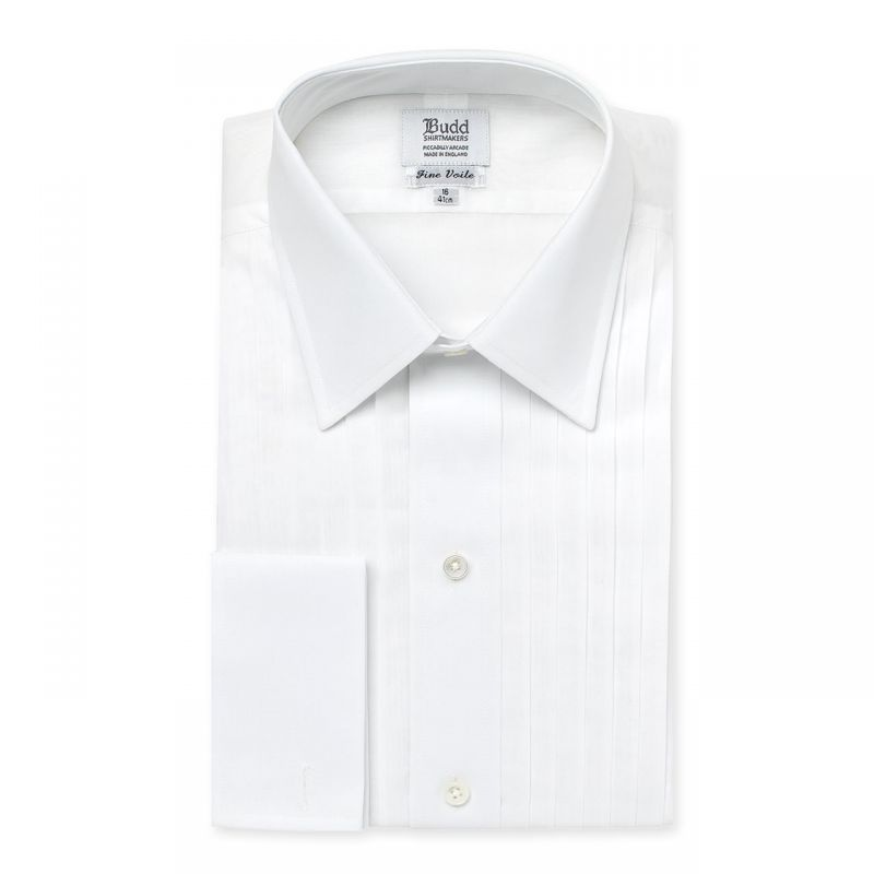 Voile Pleated Dress Shirt in White