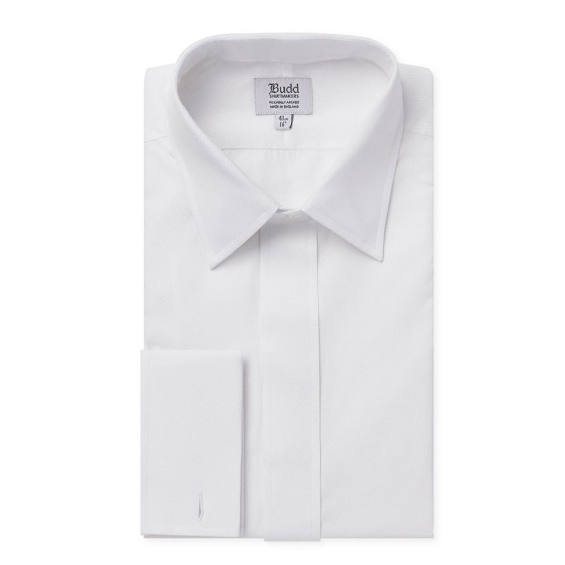 White/White Fly Front Dress Shirt in White