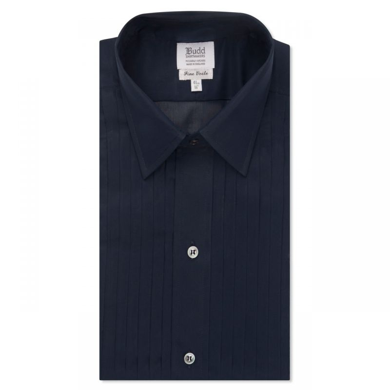 Voile Hand Pleated Dress Shirt in Navy