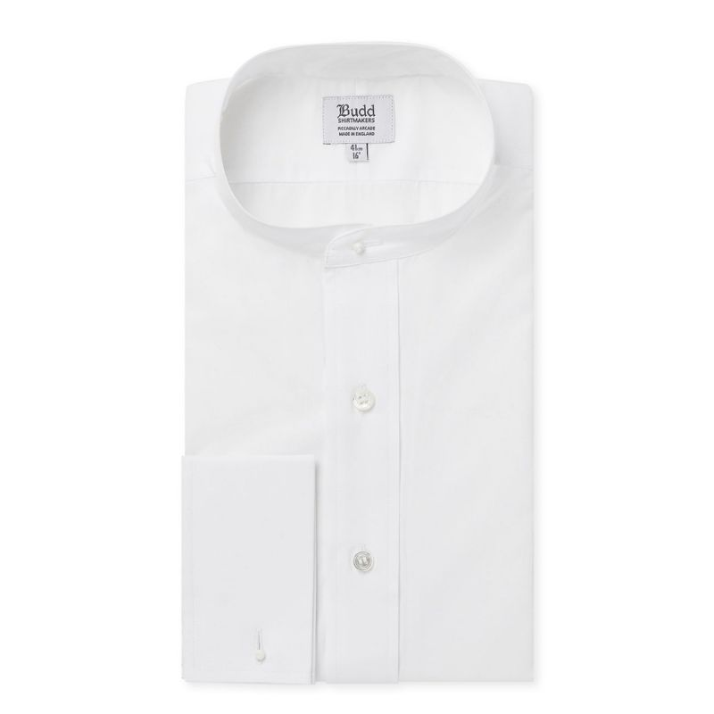 Neckband Poplin Shirt in White