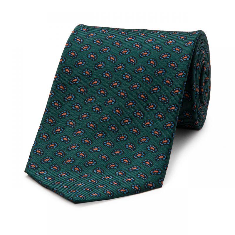 Mini Paisley Geometric Madder Tie in Green