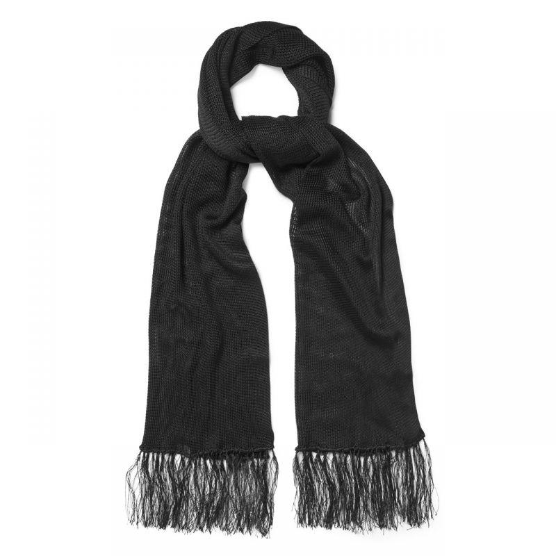 Plain Knitted Silk Dress Scarf in Black