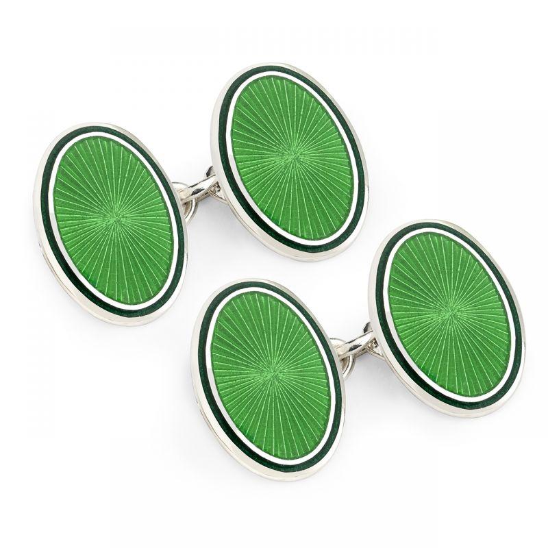 Sunburst Cloisonné Chain Cufflinks in Jade