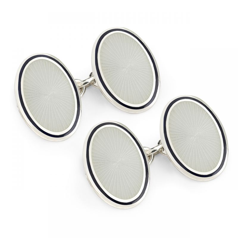 Sunburst Cloisonné Chain Cufflinks in White
