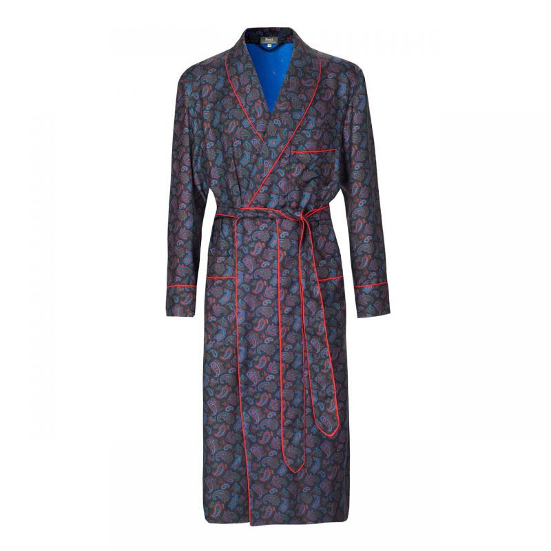 Medium Repeat Paisley 36oz Madder Silk Dressing Gown in Navy