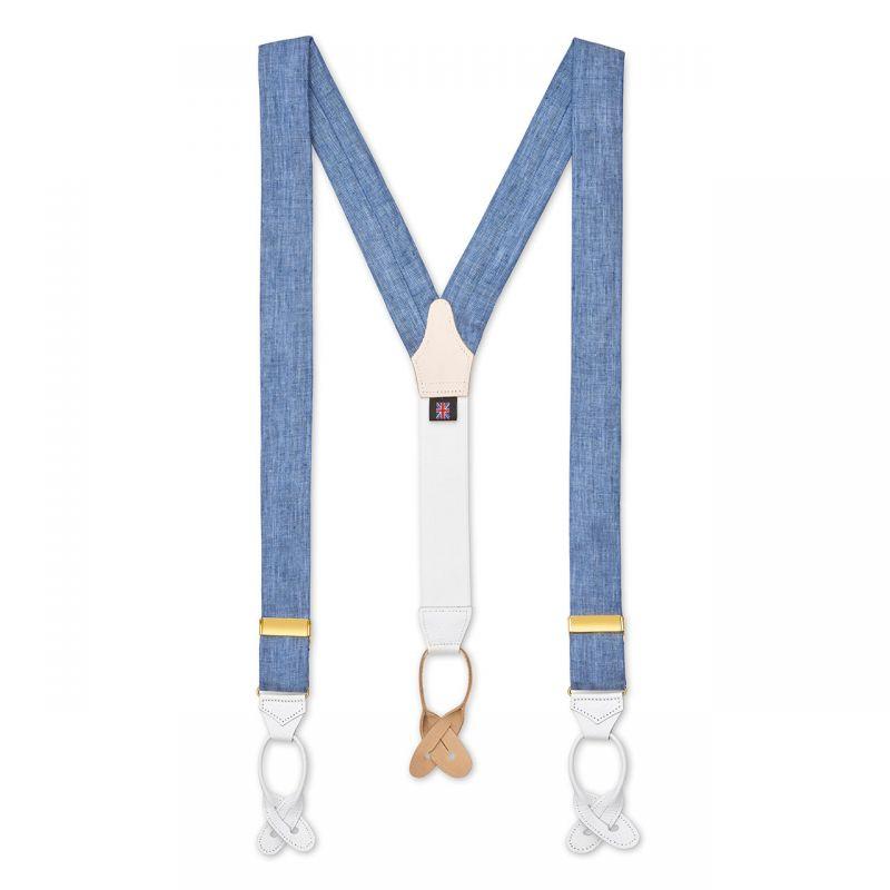 Plain Linen Braces in Blue Back