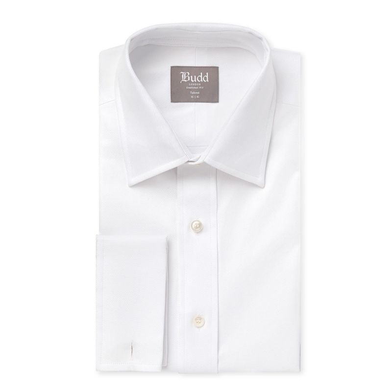 Tailored Fit Plain Twill Shirt in White