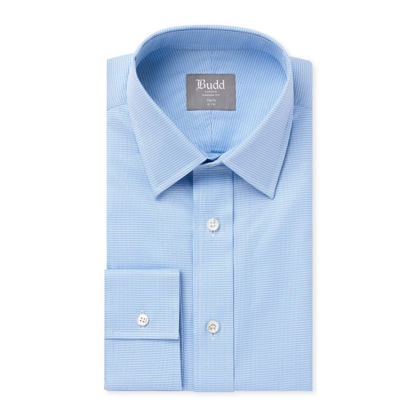 Slim Fit Puppytooth Shirt in Sky