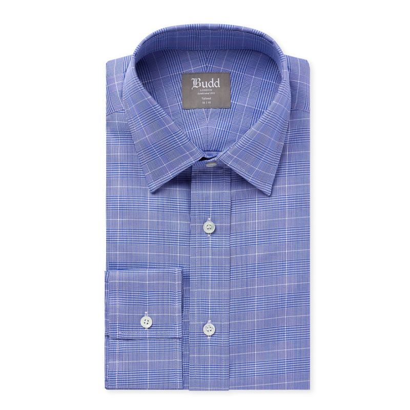 Tailored Fit Prince of Wales Shirt in Blue