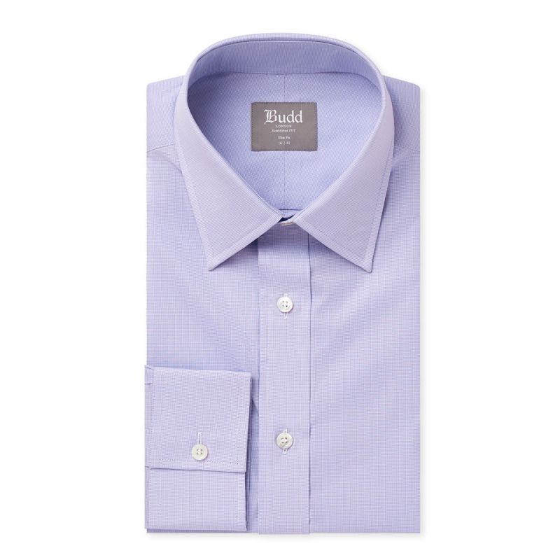 Slim Fit Zephir Micro Puppytooth Shirt in Lilac