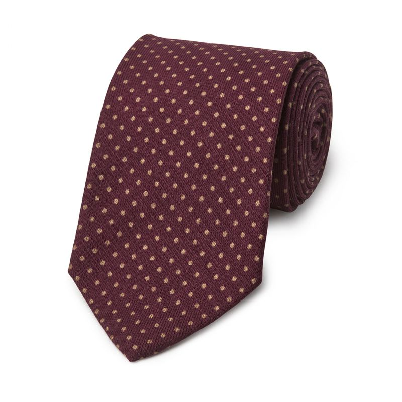 Polka Dot Wool Tie in Wine and Fawn