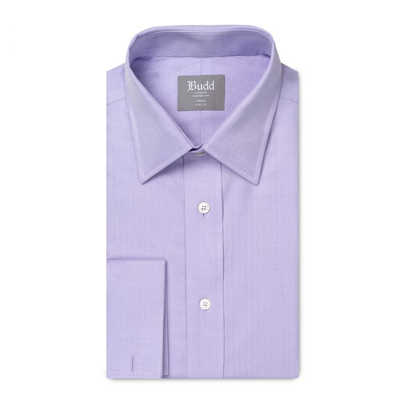 Tailored Fit Herringbone Twill Double Cuff Shirt in Lilac
