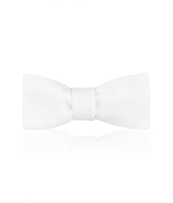 White Marcella Batswing Bow Tie - Sized