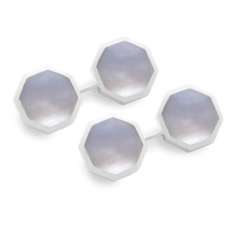 Sterling Silver Octagonal Cufflinks in Mother of Pearl