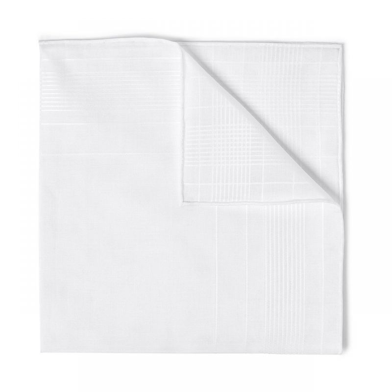 Harlan Fancy Batiste Cotton Handkerchief in White