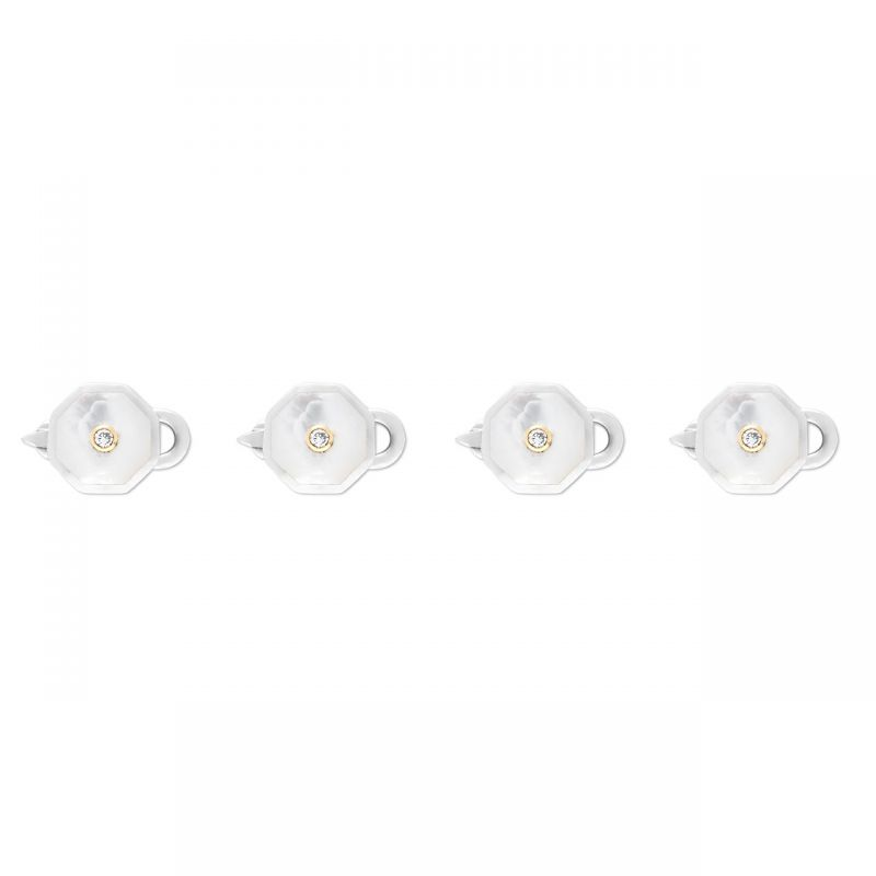 Diamond Sterling Silver Octagonal Shirt Studs in Mother of Pearl