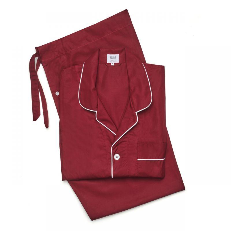 Plain Poplin Pyjamas in Wine and White