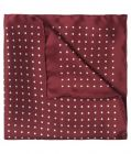 Medium Spot Silk Pocket Square in Burgundy and White