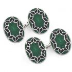 Funky Star Cloisonné Chain Cufflinks in Green