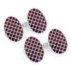 Exclusive Diced Check Cloisonne Chain Cufflinks in Red