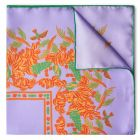 Florals and Hummingbirds Silk Pocket Square in Lilac