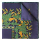 Florals and Hummingbirds Silk Pocket Square in Navy