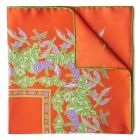 Florals and Hummingbirds Silk Pocket Square in Orange