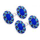 Funky Star Cloisonne Chain Cufflinks in Royal Blue