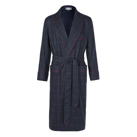 Windowpane Fox Flannel Dressing Gown in Navy