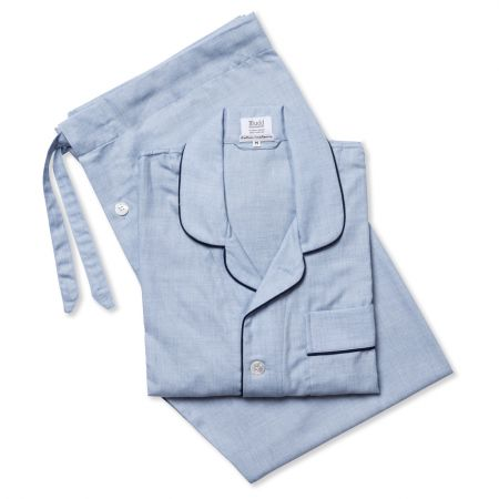 Plain Cotton and Cashmere Pyjamas in Sky Blue