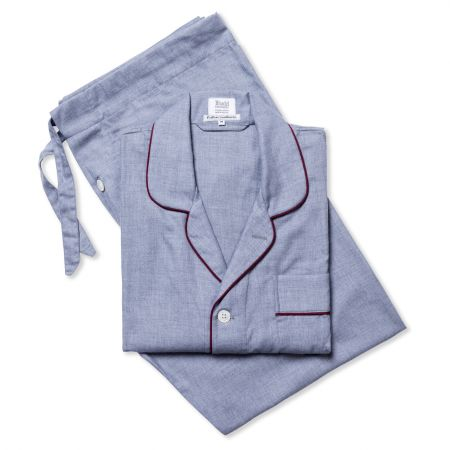 Plain Cotton and Cashmere Pyjamas in Navy