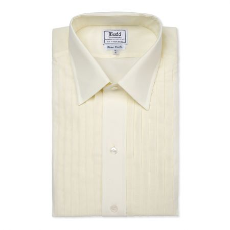 Classic Fit Pleated Voile Double Cuff Dress Shirt in Cream