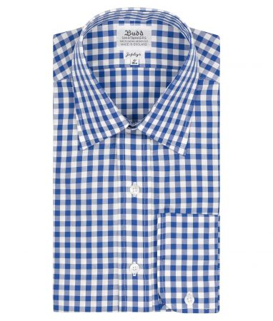 Classic Fit Medium Gingham Check Zephyr Button Cuff Shirt in Royal Blue
