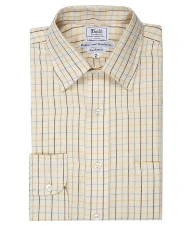 Classic Fit Tattersall Check Cashmerello Button Cuff Shirt in Blue and Yellow
