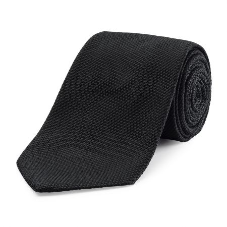 Plain Silk Grenadine Tie in Black