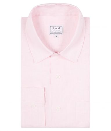 Casual Fit Plain Linen Button Cuff Shirt in Pink Check
