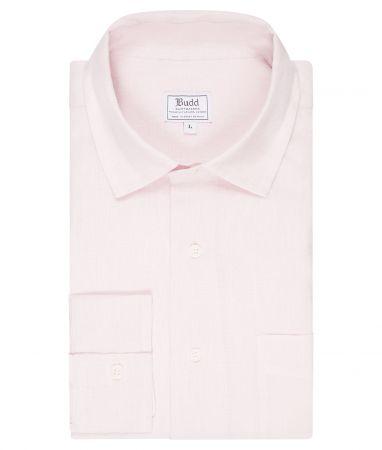 Casual Fit Exclusive Plain Linen Button Cuff Shirt in Pink Check