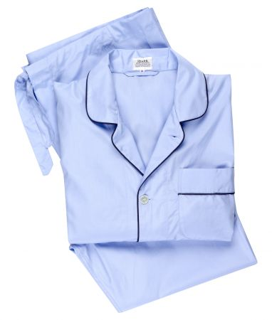 Plain Poplin Pyjamas in Sky Blue and Navy