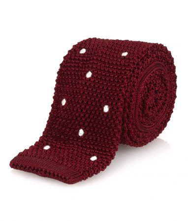 Spot Silk Knitted Tie in Red and White