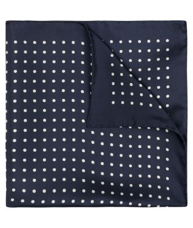 Medium Spot Silk Pocket Square in Navy and White
