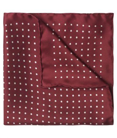 Burgundy & White Medium Spot Pocket Square