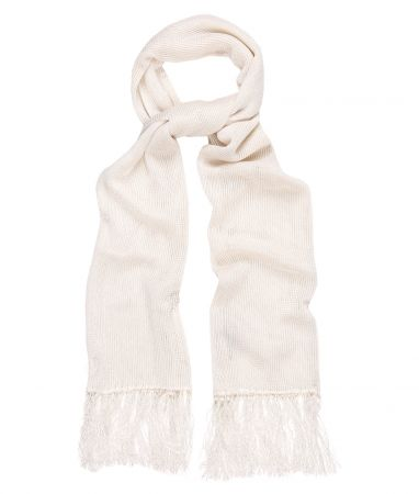 Ivory Knitted Silk Dress Scarf