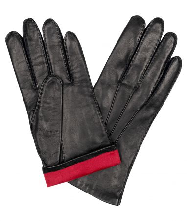 Black Cape Leather/ Red Silk Lined Gloves