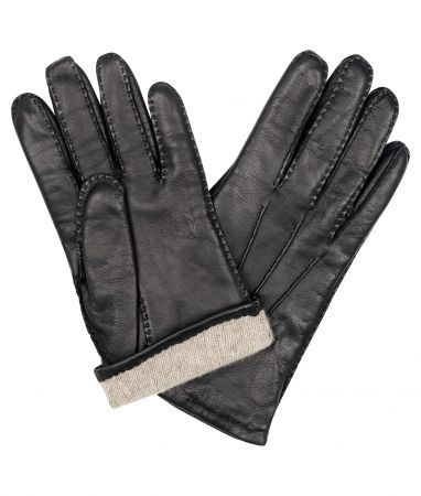 Black Cape Leather/ Cashmere Lined Gloves