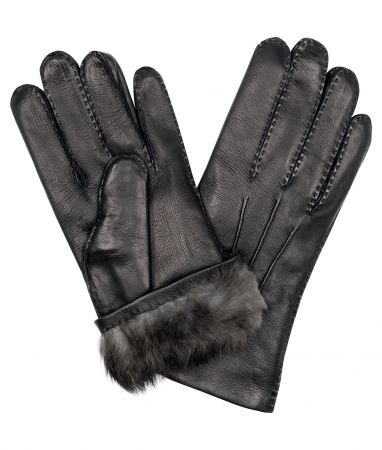 Black Cape Leather/ Fur Lined Gloves
